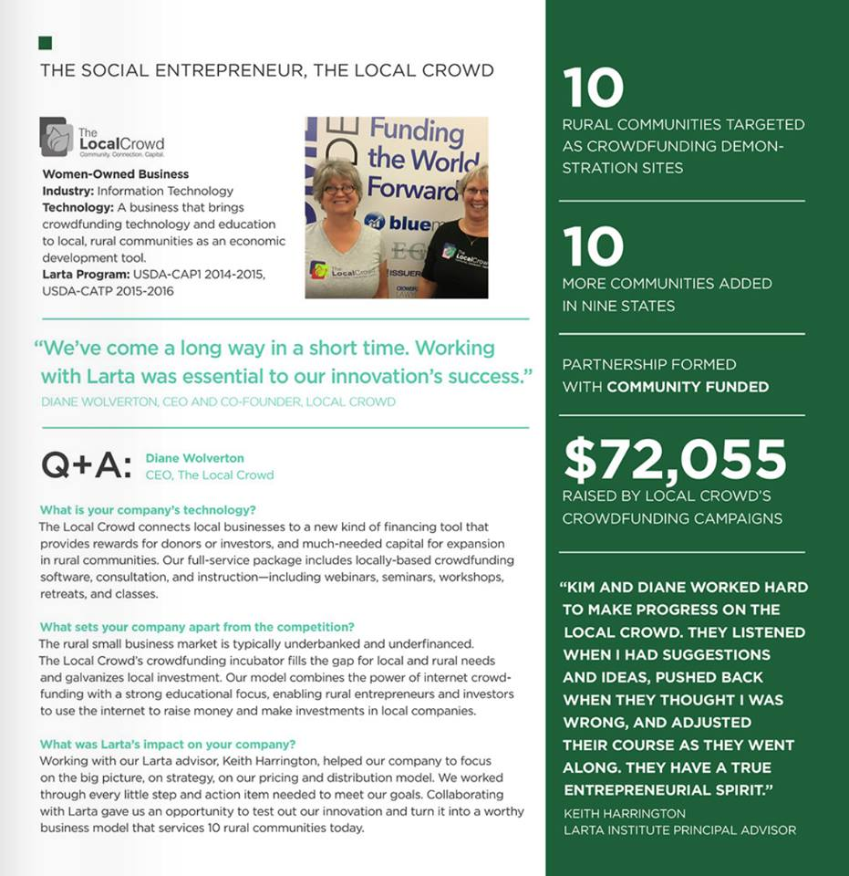 Larta Report about The Social Entrepreneur featuring The Local Crowd