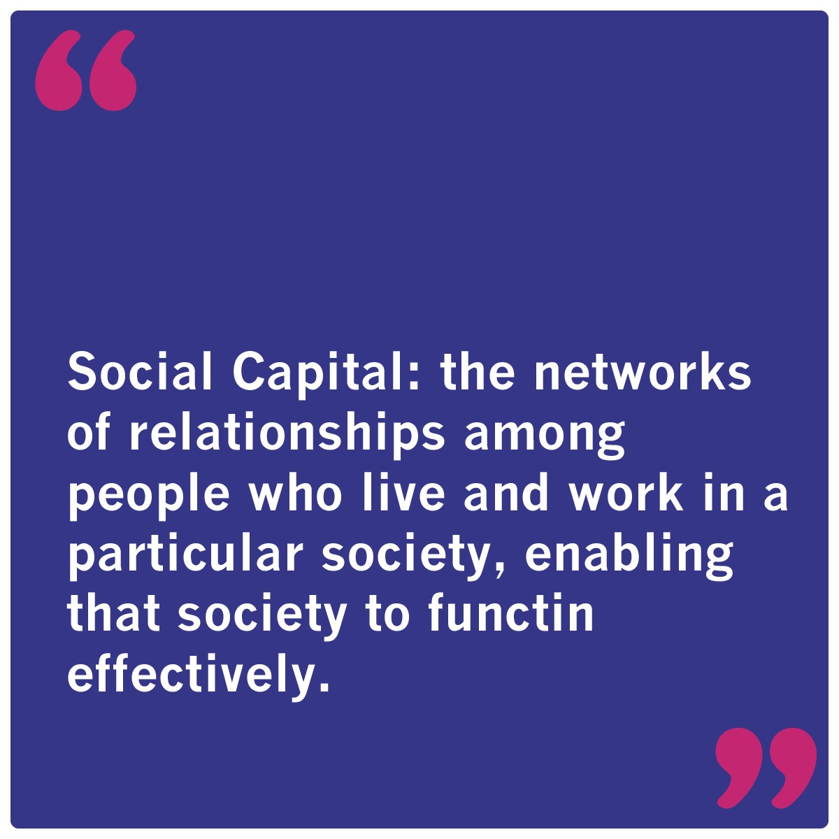 blue box with quote about raising social capital
