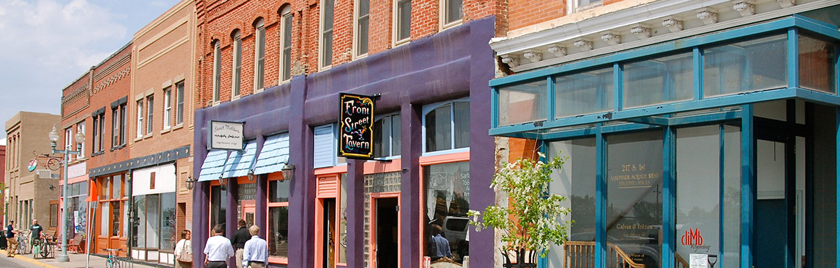 downtown local shops on 1st street in Laramie, Wyoming