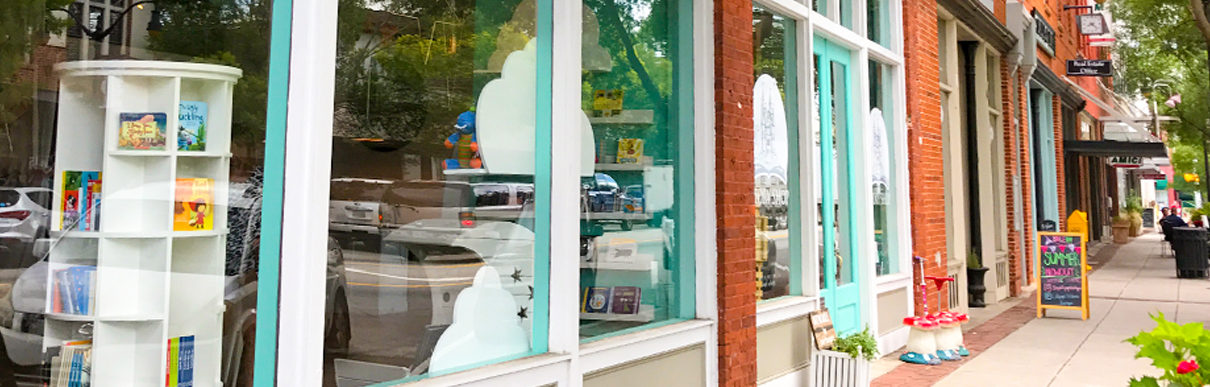 local downtown shops and sidewalk in Monroe, Georgia