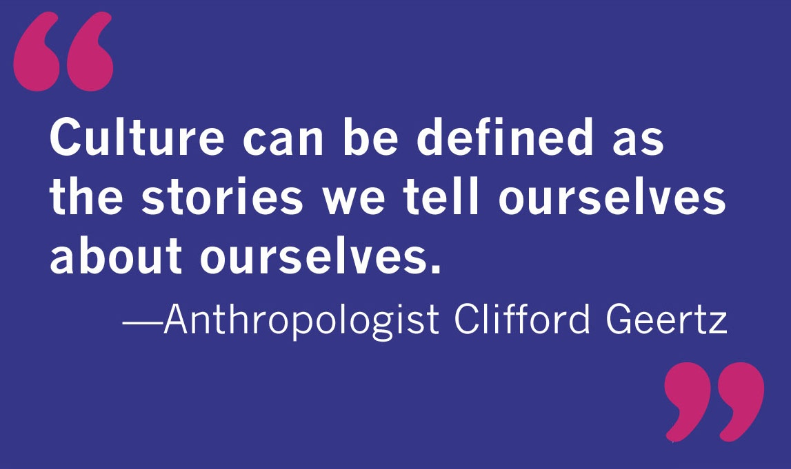 blue box with quote from anthropologist Clifford Geertz