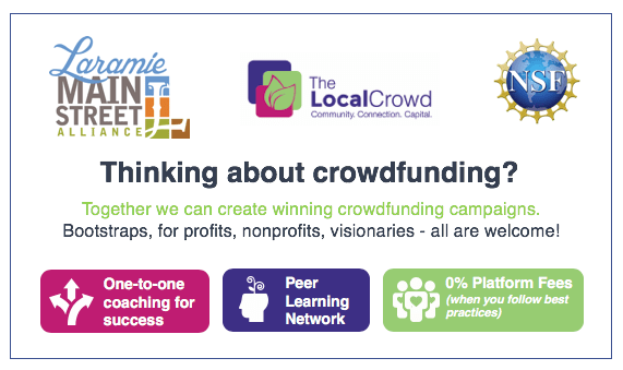 graphic with information for people interested in trying crowdfunding to raise money for their Laramie business