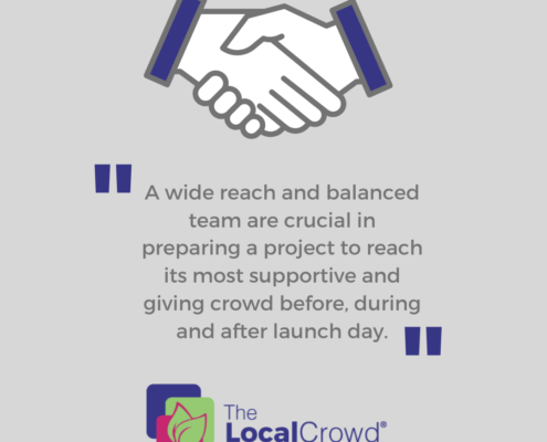 A wide reach and balanced team are crucial in preparing a project to reach its most supportive and giving crowd before, during and after launch day.