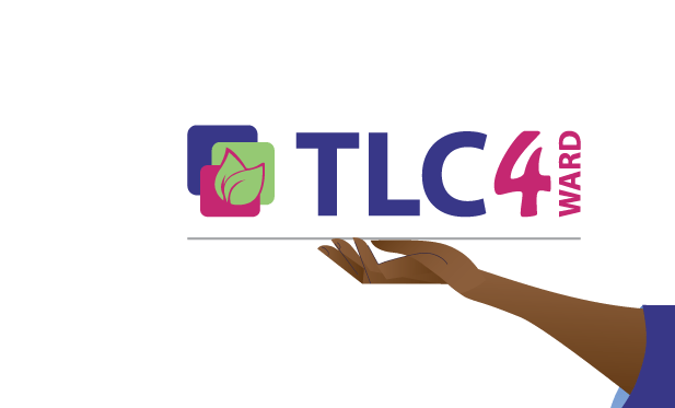 arm holding out TLC 4WARD logo for the Covid-19 response program