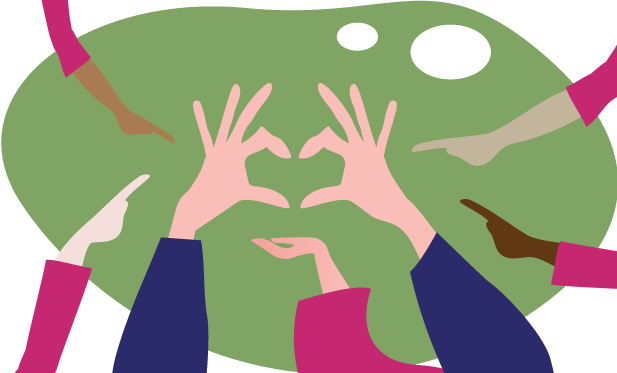 diverse hands pointing to hands making a heart shape