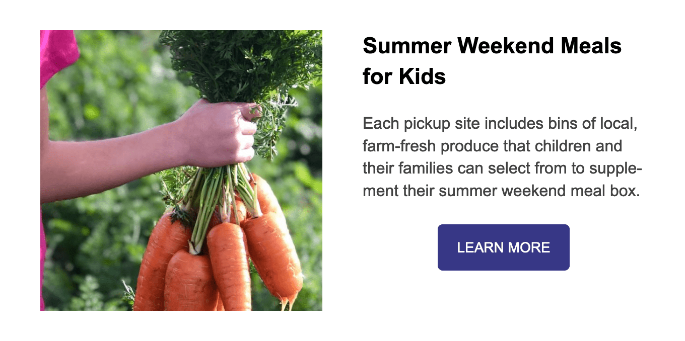 Celebrate Local Food with Crowdfunding, Summer Weekend Meals for Kids